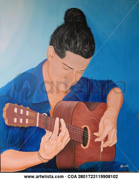 Flamenco Azul con la Guitarra