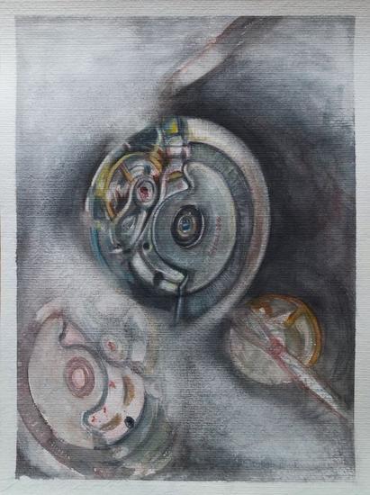 De la serie: SIEMPRE A LA HORA Acuarela Figura Cartulina