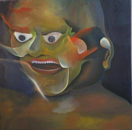 Máscara China Retrato Óleo Tela