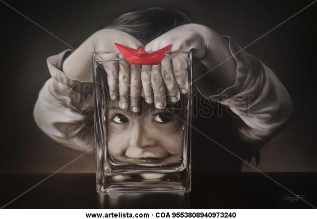 Barquito rojo Lienzo Óleo Figura
