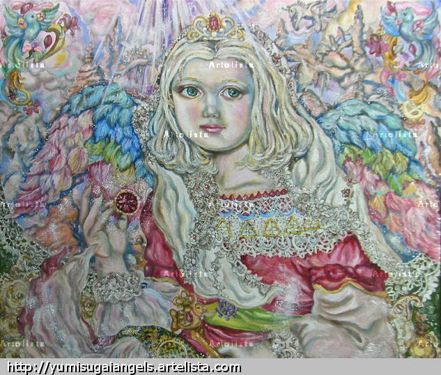 Yumi Sugai. An angel of the ruby.poster. Canvas Oil Figure Painting