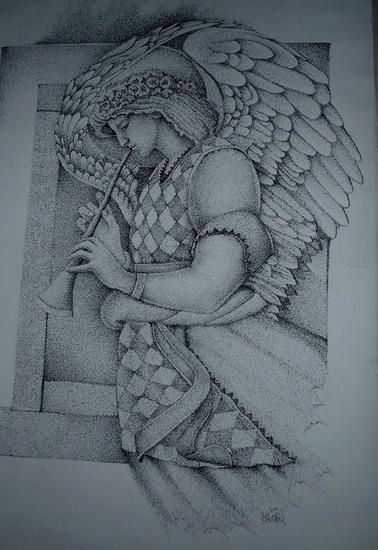PLUMILLA ANGEL DE LA TROMPETA Lienzo Tinta Figura