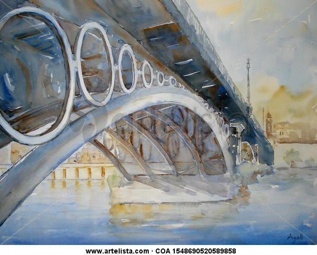 Puente de Triana Papel Acuarela Paisaje