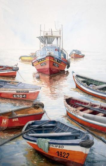Los botes de Nereo Paper Watercolour Marine Painting