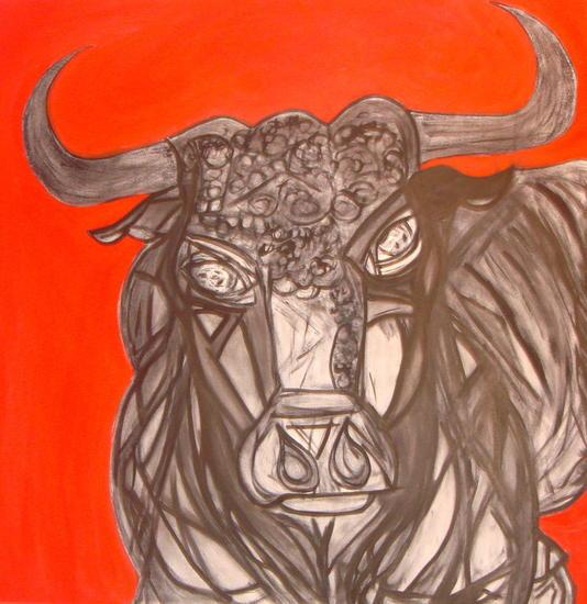los ojos del toro Lienzo Grafito Animales