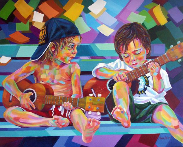 Niños Venezolanos Tela Acrílico Figura