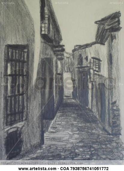 calle de Girona Papel Lápiz (Negro) Paisaje