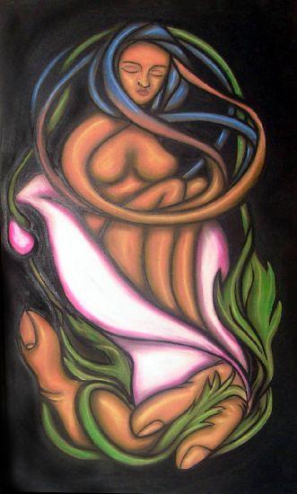 """""""Hada en Flor"""" Pastel Panel Figure Painting"""