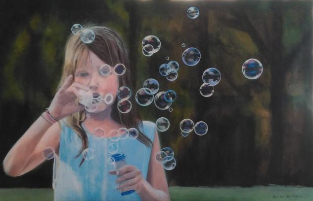 Blowing bubbles Lienzo Acrílico Figura
