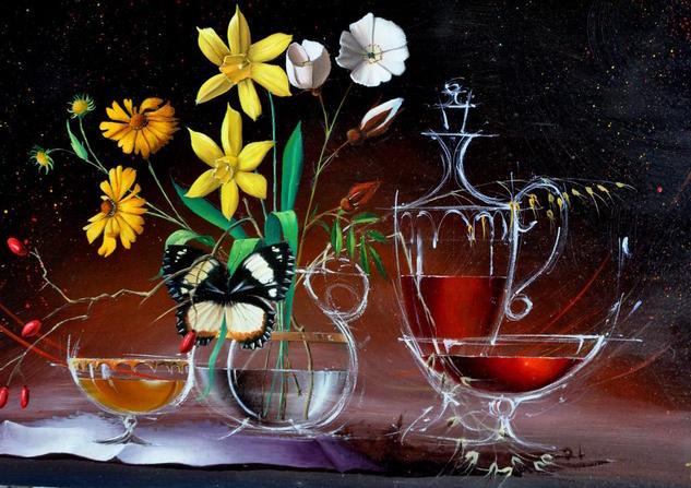 BOUQUET AU PAPILLON Panel Oil Floral Painting