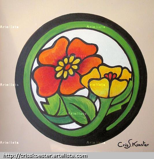 Flores Circulo Floral Tela Acrílico