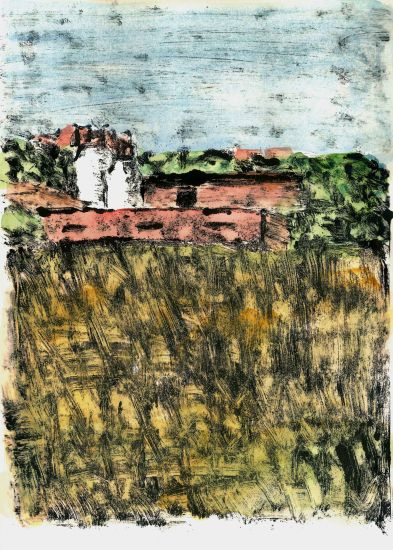 La granja Paisaje Papel Óleo