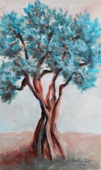 Olive tree Paisaje Acuarela Lienzo