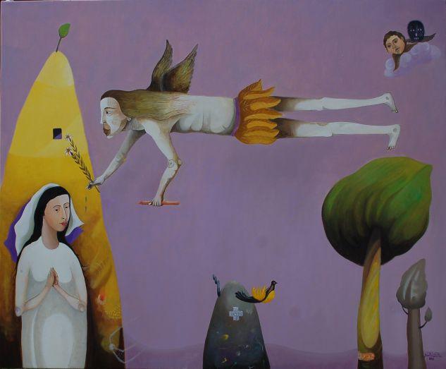 San Gabriel Óleo Lienzo Figura