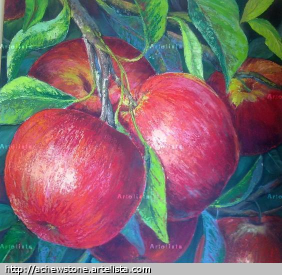 Manzanas rojas Canvas Mixed media Still Life Paintings