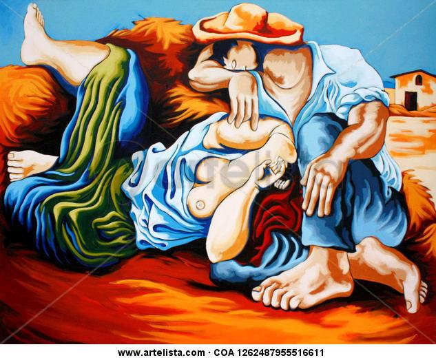 Campesinos durmiendo - Picasso. Lienzo Acrílico Figura
