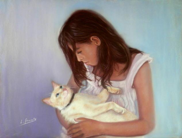 Niña con gato Papel Pastel Retrato