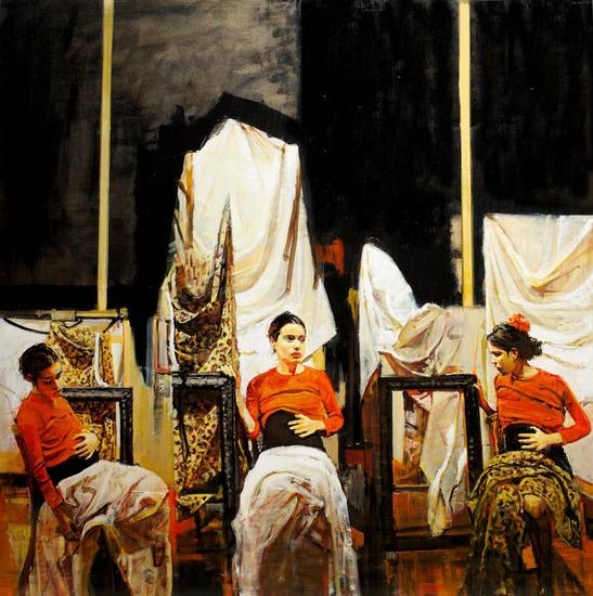Esperando Nacer Panel Figure Painting Oil