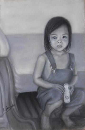 Niña tailandesa Papel Pastel Retrato