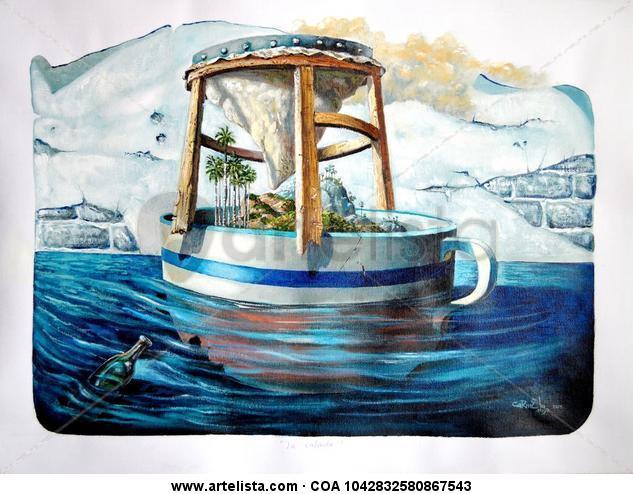La taza de Café Lienzo Acrílico Marina