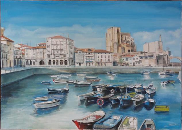 El puerto de Castro Urdiales (Cantabria) Lienzo Óleo Paisaje