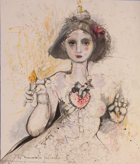 Mujer corazon Lienzo Acrílico Otros