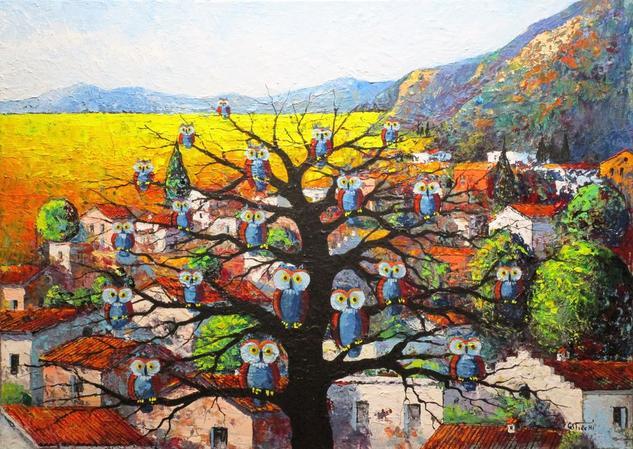 L'albero delle civette Tela Acrílico Animales