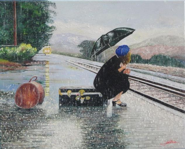 Joven esperando el tren Lienzo Óleo Paisaje