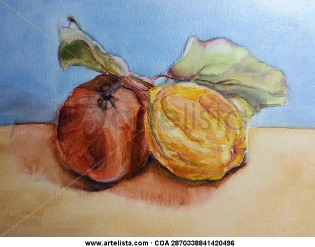 Frutos secos Tabla Acuarela Bodegones
