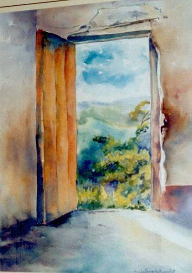 La puerta color Naranja Acuarela Papel Paisaje