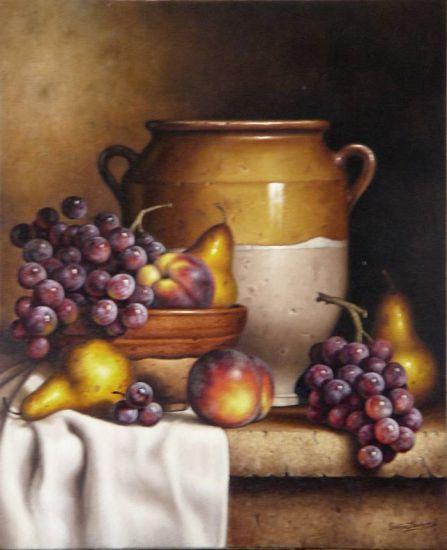Bodegón con uvas Óleo Tela Bodegones