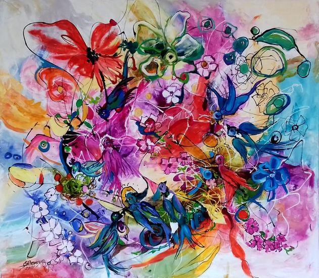 abstract with birds and flowers,original art Bissinger Otros Óleo Lienzo