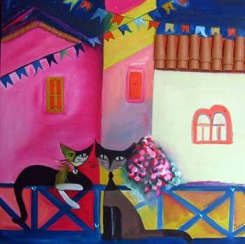 Fiesta de gatos Óleo Lienzo Animales