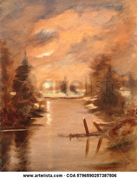 Setting Sun Canvas Oil Landscaping