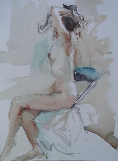 En sepia y azul Papel Acuarela Desnudos