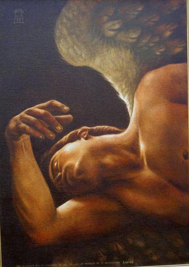 ANGEL CAIDO Óleo Lienzo Desnudos
