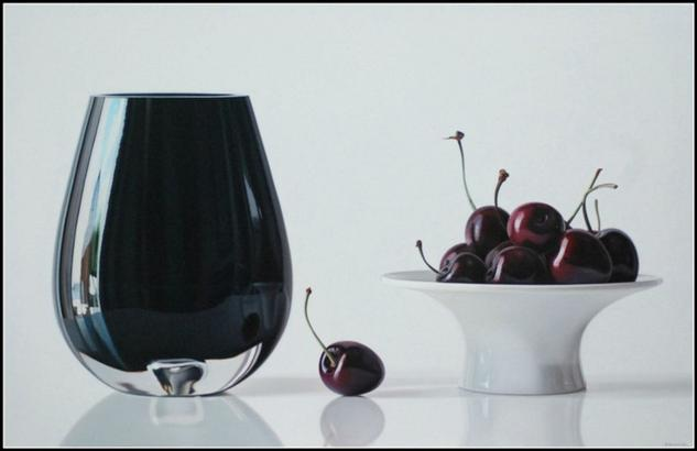 Black cherries for lovers Bodegones Óleo Lienzo