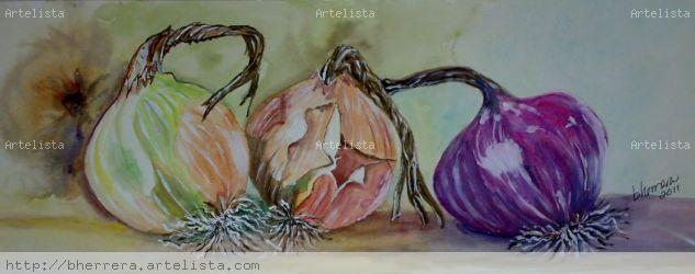 Trio de Cebollas Media Mixta Papel Bodegones