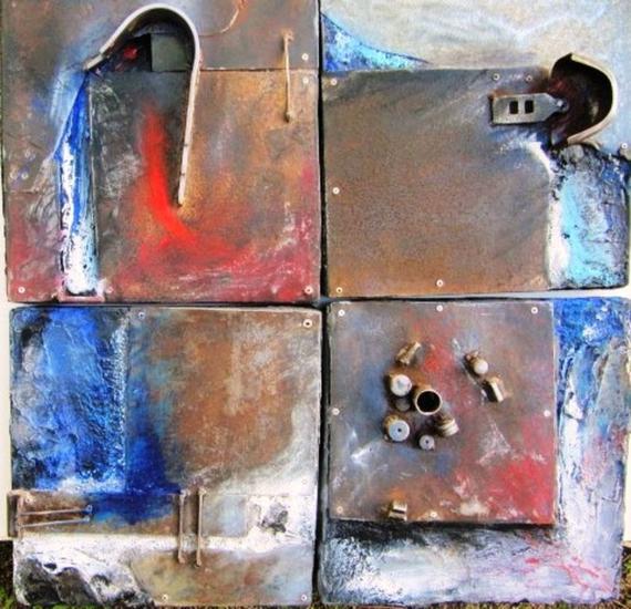 SERIE: AL FINAL DE LA TARDE 1-2-3y4-12 Metal Abstracta