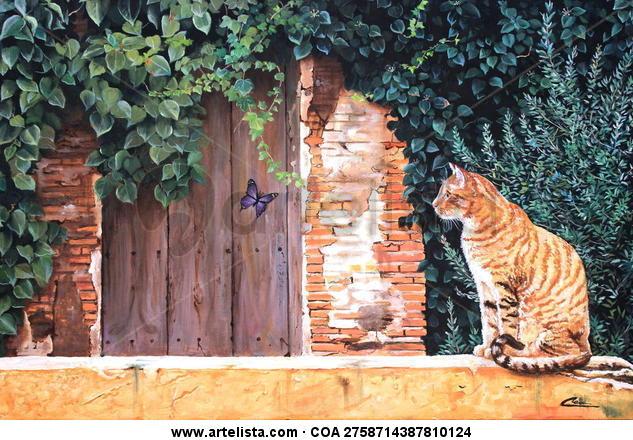 El gato y la mariposa Animales Tela Óleo