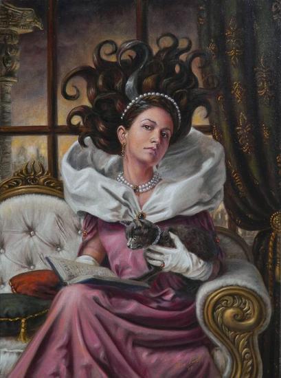 Gabriela y el Gato Canvas Oil Portrait