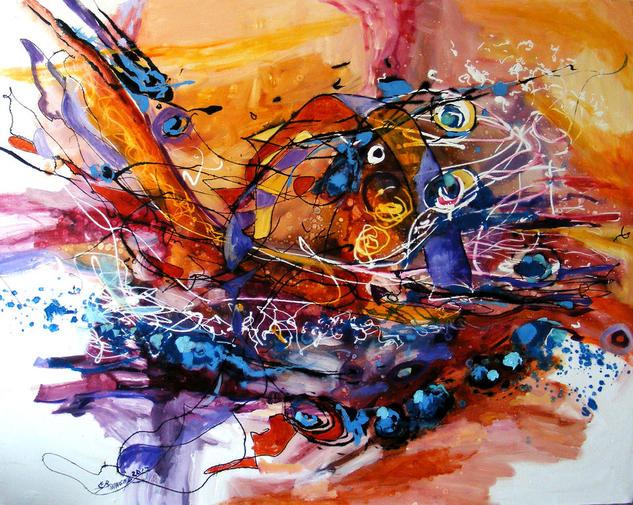 Abstract Si cortul barca se facu ,original art by E.Bissinger  Lienzo Óleo Otros