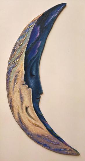 YIN & YANG, MOONERANG -(Escultura pintada ) Madera Figurativa