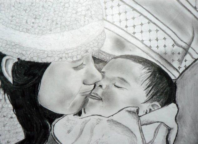 Ternura de hermanos 1 Cartulina Grafito Retrato