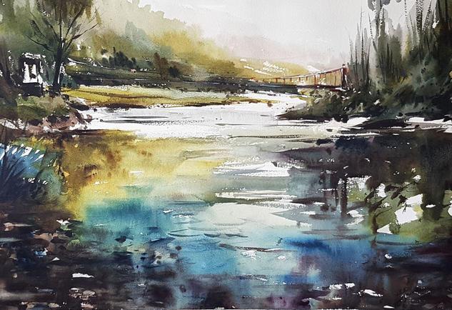 puente sobre el nalon Landscaping Watercolour Paper
