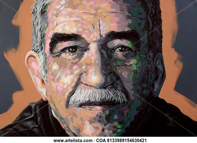 Gabriel Garcia Marquez Retrato Media Mixta Lienzo