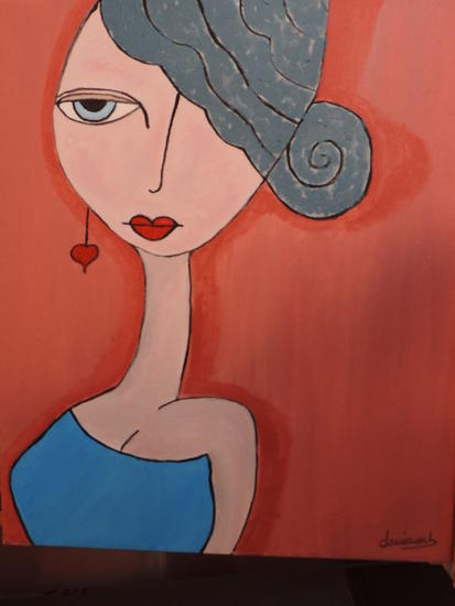 MUJER DE AZUL Canvas Acrylic Others