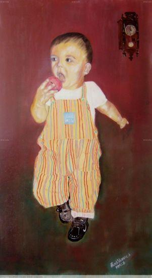 Nesztor Oil Panel Figure Painting
