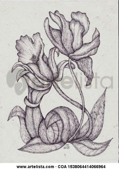 Flores del jardín Técnica Mixta
