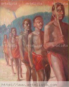 Danza Masai Óleo Lienzo Otros